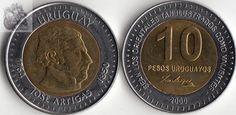 Peso uruguaio (1993-em uso) (x) 10 pesos (2000) O: efígie de José Artigas…