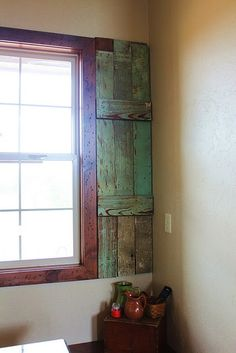 Planning to use old shutters on the windows instead of curtains.  Hope I find some in black.  If not, I know someone who does amazing things with paint & can make them look distressed.