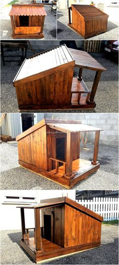 The idea we are going to show here is of reused wood pallet dog house which is painted brown and it is looking awesome. The dog house is created with special attention to make it comfortable and safe for the dog. Large Dog House, Dog House Bed, Dog House Plans, Pallet Dog House, Pallet Dog Beds, Outdoor Dog, Indoor Outdoor, Dog Furniture, Furniture Plans