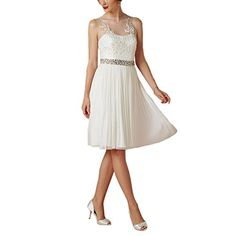 d41fa81c3c Abaowedding Women s Sheer Sleeveless Crystal Belt Short Wedding Dress Gown  US 2 Ivory at Amazon Women s Clothing store