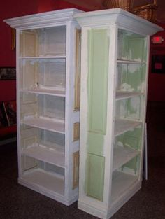 Whether hung on the wall or transformed into furniture, we love the idea of repurposing old windows and doors for use in the home. Repurposed Items, Repurposed Furniture, Painted Furniture, Repurposed Doors, Recycling Furniture, Salvaged Doors, Furniture Makeover, Diy Furniture, Steel Furniture