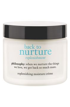 Free shipping and returns on philosophy 'back to nurture' replenishing moisture crème at Nordstrom.com. philosophy back to nurture replenishing moisture crème replenishes and nurtures dry skin that feels depleted and has lost its youthful cushion and vitality. Going above and beyond what a regular moisturizer can do, back to nurture infuses skin with encapsulated hyaluronic acid and shea butter along with an anti-inflammatory magnolia bark extract and skin-renewing peptides to replump and…