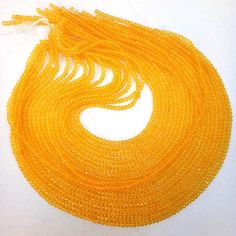 """10 Strands Citrine Hydro Glass Faceted Beads 3-3.5mm 13"""" Long Strand For Jewelry"""