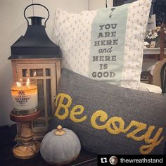 Life is good today! #sundayfunday #repost  A Hazelnut Coffee Candle & new cozy pillows are just right for this rainy Saturday. @southernfireflycandle #fall #coffee #pumpkin #shoplocal #nashville #goodlettsville