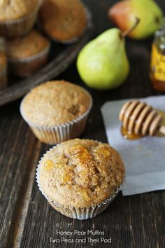 Honey Pear Muffin Recipe on twopeasandtheirpod.com The perfect Fall muffins! #recipe