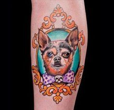dog portrait frame tattoo | tattoos | Pinterest | Frame Tattoos ...