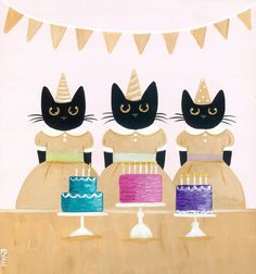 Black Cats and Cakes Original Cat Folk Art by KilkennycatArt