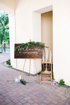 wedding welcome sign - photo by Mary Claire Photography http://ruffledblog.com/organic-and-intimate-wedding-in-arizona