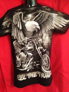 Feel the Thunder Image a Harley-Davidson Motor Bike/Eagle Black tee Short sleeve