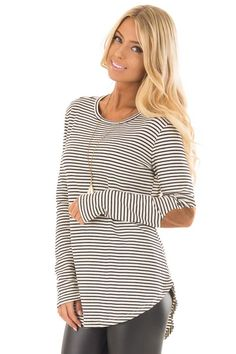 569273df84 Lime Lush Boutique - Black and Ivory Striped Top with Faux Suede Elbow  Patches