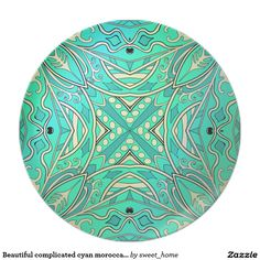 Beautiful complicated cyan moroccan ornament. melamine plate