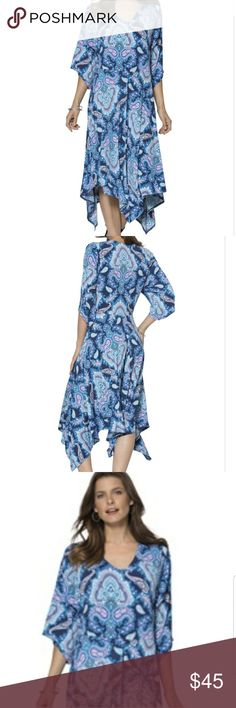 """Hankie Hem Dress 26W/28W Hankie Hem Dress  Color:  Blue/Purple Paisley Print  * Fit and flare silhouette  * V-neck * 3/4 length bell-shaped sleeves * Elastic waistband * Hankie Hem drops to about 42"""" at the shortest, 50"""" at the longest * Polyester/Spandex * Machine wash  Like new. Wore one time but it was too big for me. Roaman's Dresses High Low"""