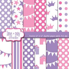pink and purple princess digital scrapbook papers by lane + may, $6.00