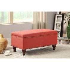Shop for HomePop Red Linen Nailhead Trim Storage Bench. Get free shipping at Overstock.com - Your Online Furniture Outlet Store! Get 5% in rewards with Club O! - 16120228