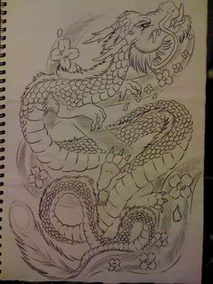 dragon and cherry blossom by tribalwolfie on DeviantArt Dragon Tattoo With Cherry Blossom, Dragon Tattoo With Flowers, Cover Up Back Tattoos, Wing Tattoos On Back, Chinese Dragon Drawing, Chinese Dragon Tattoos, Japanese Geisha Tattoo, Geisha Tattoo Design, Hidden Tattoos