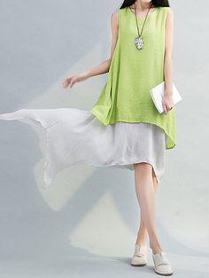 Women Sleeveless Fake Two Pieces Irregular Vintage Dresses