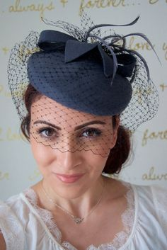 Wool Winter Hat Gray Fascinator With Black Birdcage Feathers