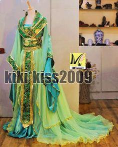 China Kimono Lilac Fairy Girl's Purple/Green Dress Cosplay Custom-Made HanFu