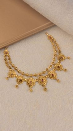 gold necklace with ornate intricacies Gold Bangles Design, Gold Earrings Designs, Gold Jewellery Design, Gold Mangalsutra Designs, Gold Ring Designs, Necklace Designs, Gold Haram Designs, Gold Wedding Jewelry, Gold Jewelry Simple