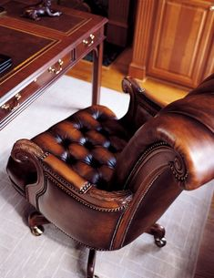 comfy chesterfield real leather home office chair Leather Furniture, Home Furniture, Leather Chairs, Furniture Stores, Gray Interior, Interior Design, Leather Interior, Interior Office, Masculine Home Offices