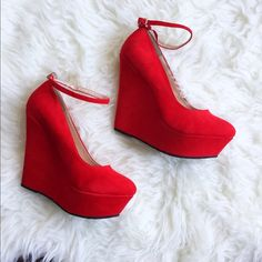 Red Wedge Heels with Ankle Strap Red wedge heels with ankle strap, size 8 1/2, minor scuffs on shoe Shoes Wedges