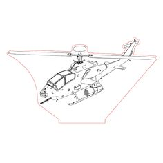 Helicopter Gunship 3d illusion lamp plan vector file for CNC - 3bee-studio
