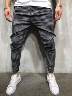 4b86fdd9e248 Checkered Ankle Pants with Side Stripes 3886