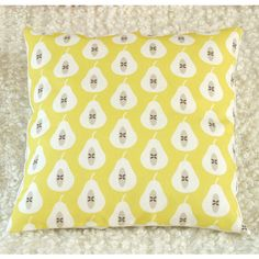 Louise Brainwood Pear Print Cushion Cover ($37) ❤ liked on Polyvore featuring home, home decor, throw pillows, patterned throw pillows and handmade home decor
