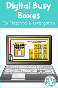 This fun digital busy box is perfect for online instruction or distance learning with your preschool, pre-k, or kindergarten kiddos! It works on multiple platforms and in the classroom for counting practice! #mrsasroom Kindergarten Teachers, Preschool Kindergarten, Counting Puzzles, Teaching Numbers, Busy Boxes, Number Activities, Crayon Box, School Resources, Math Centers
