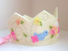 Birthday Crown with Blue Bird, Wool Felt Crown, Flower Crown, Girl, Personalized