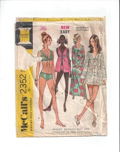 McCall's 2352 Pattern for Misses' Bathing Swim Suit, Cover-Up, Size 10, From 1970, New Easy 2 Color Guide, Vintage Pattern, Home Sew Pattern by VictorianWardrobe on Etsy