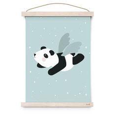 Poster affiche bleue panda volant par Eef Lillemor à retrouver dans la boutique La Rose Pourpre - papeterie - Blue flying panda poster - Online Shop -Paiement sécurisé et retour facile !
