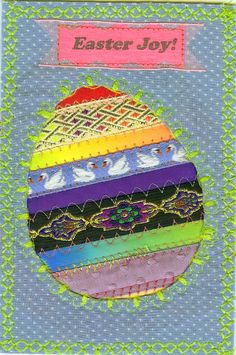 Sewing Fabric Postcards with ShereeSews: Easter Joy Tutorial for fabric postcards