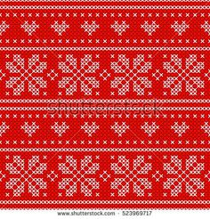 Red Holiday seamless pattern with cross stitch embroidered happy new year ornament (heart and snowflake). Christmas scheme endless design for package, web sites, textile. Art raster illustration.