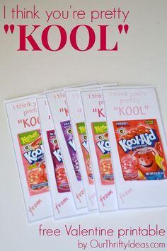 "I think you're pretty ""KOOL""  free Valentine Printable  | #free #printable #vday #valentine #kids"