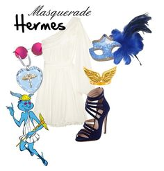 """""""Masquerade: Hermes"""" by jivy44 ❤ liked on Polyvore featuring Matthew Williamson, Masquerade Lingerie, Faith Connexion, The Bradford Exchange, Emily Elizabeth Jewelry and Miu Miu"""