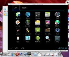 Android OS on PC or Mac can be tested on VirtualBox or VMWare Fusion using an ISO image of Android OS like Android 4.0 or a ready made virtual appliance.