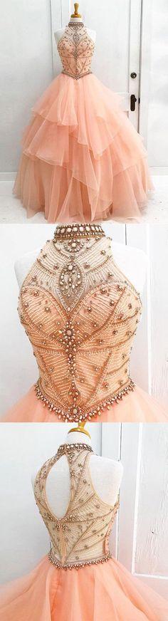 Gorgeous pink tulle high neck strapless open back long evening dress #longpromdresses