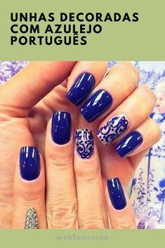 Unhas decoradas com azulejo português passo a passo