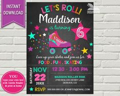 Hey, I found this really awesome Etsy listing at https://www.etsy.com/listing/470522274/skating-party-invitation-roller-skating