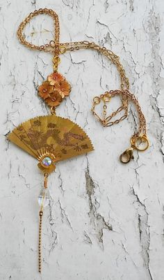 Vintage Japanese Folding Dragon Gold Tone Fan CharmFloral Hanging Charms Jewelry Necklace by DreamAddict on Etsy