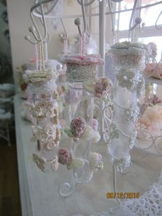 Shabby chic#Crochet flower# altered test tube#Msgardengrove1