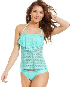 Hula Honey Crochet Flounce Tankini Top & Hipster Brief Bottom - Juniors Swimwear - Macy's