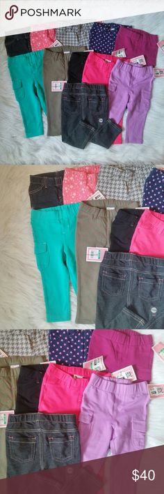 Lot of 18M Jeggings 11 Pieces NWT All New with tags. 11 different colors  Dark blue denim, Stars, Houndstooth, Hearts, fushia, teal, Polka dots, Black, pink, Lavender, and black denim. Retail $9 ea. Can not alter lot but feel free to bundle with other items in my closet.  BUNDLE your likes and shoot me and OFFER! Glad to negotiate. Hundreds of items available for discounted bundle offers! Circo Bottoms Leggings