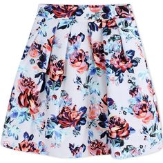 Mary Katrantzou Mini Skirt ($865) ❤ liked on Polyvore featuring skirts, mini skirts, light grey, short floral skirt, mini skirt, flower print skirt, zipper mini skirt and pleated skirt