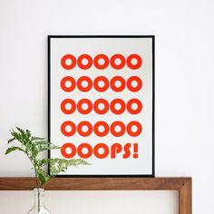 OOOPS-Print, beste Verkäufer Print, Neon Screenprint Plakat, lustige Grafik, zitieren Wandkunst, Zitat Wall Decor, Typo-Druck, A3 oder 11,7 x 15,7 in.
