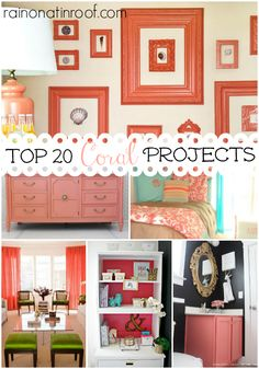 Coral is such a great color - it goes with so many other colors and styles! There are some great ideas here for incorporating it into your home! Top 20 Coral Projects & Ideas via RainonaTinRoof.com