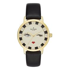 Kate Spade Black Wink Metro Watch ($195) ❤ liked on Polyvore featuring jewelry, watches, leather band watches, anchor jewelry, kate spade jewelry, kate spade and dial watches