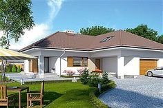 Projekt domu Ambrozja 2 Bungalow House Design, House Plans, Shed, New Homes, Outdoor Structures, How To Plan, Mansions, Interior Design, House Styles