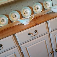 Practical and beautiful. ♥ Stunning farmhouse kitchen dresser, painted with Annie Sloan Old Ochre Chalk Paint, lightly distressed and clear waxed. Top has been sanded back, then waxed. ♥ #misselaineous #anniesloan #chalkpaint #morethanpaint #reloved #oldochre #clearwax #distressed #pine #farmhouse #kitchen #dresser #countrystyle #rustic #shabbychic #stunning #rich #ascp #2015 #love #forsale